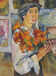 N.S. GONCHAROVA  'SELF-PORTRAIT WITH YELLOW LILIES', from the Tretyakov State Gallery collection