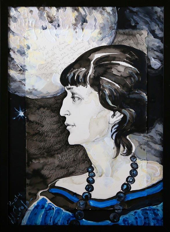Маргарита Сюрина. Из серии «Мысли-облака», Анна Ахматова, 2014 год
